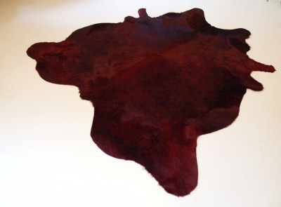 Cow hide rugs burgundy