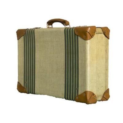 vintage '50  tweed strips suitcase