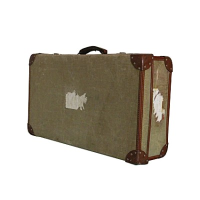 Vintage 1960s  Green Canvas Military Suitcase