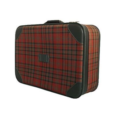 Vintage red tartan suitcase