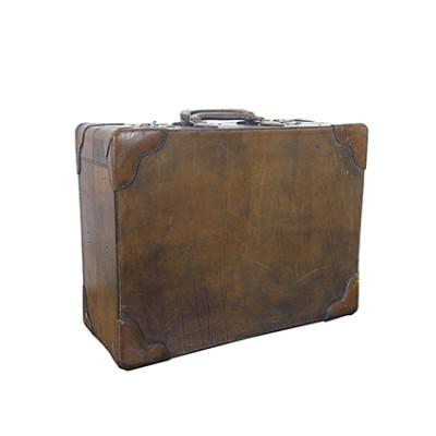 valigia vintage in cuoio scuro