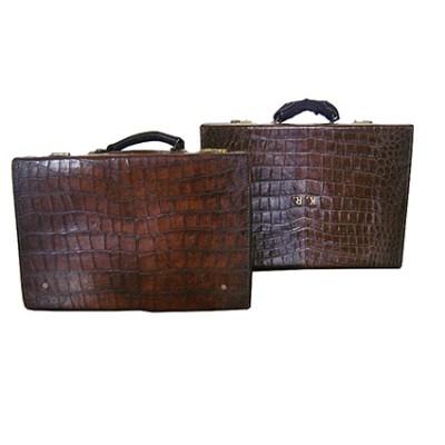 Vintage crocodile leather suitcase
