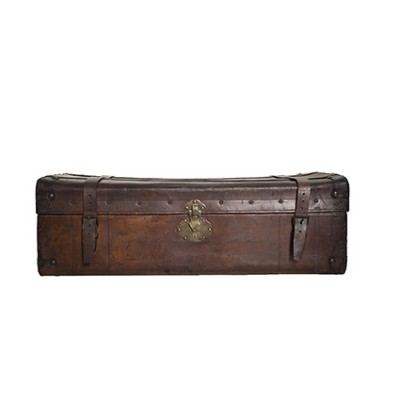 Antique Leather Travel Trunk  early '900